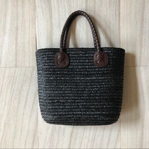 Handbags - Black Wheat Straw Bag w/ Brown Straps